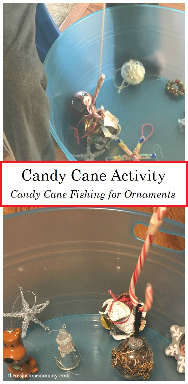 Candy Cane Activity: this Christmas minute to win it game is fun for all ages; try candy cane fishing for ornaments