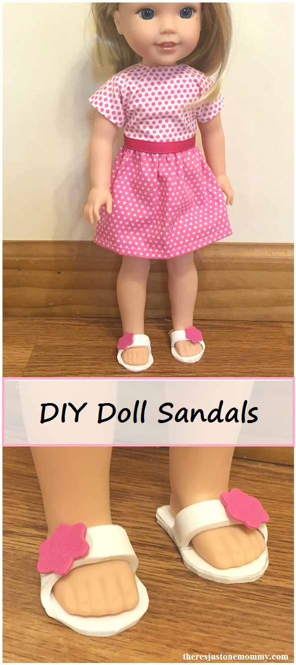 DIY doll shoes -- homemade Wellie Wishers doll sandals (14.5 inch doll shoes)