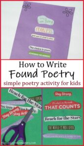 found poetry -- simple poetry activity for kids