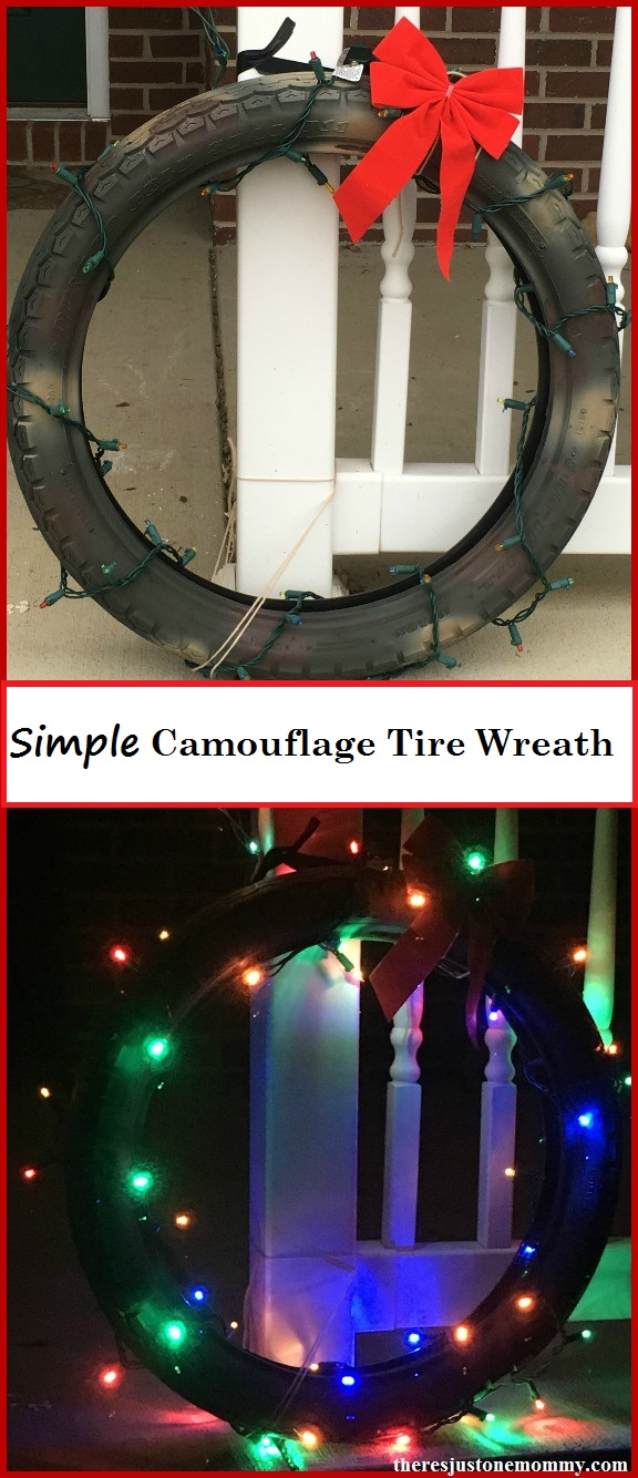 Simple Recycled Tire Wreath -- DIY camouflage Christmas wreath