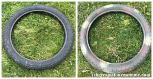 How to make a recycled tire wreath