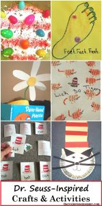 Dr. Seuss Crafts & Activities -- fun Dr. Seuss inspired crafts such as Cat in the Hat craft, The Foot Book Craft, Mr. Brown Can Moo book activity,Dr. Seuss learning activities and so much more