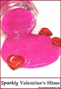 Valentine's Day liquid starch Slime -- sparkly glitter glue slime that is perfect as a DIY Valentine's gift