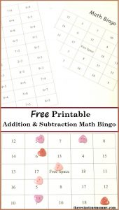math fact bingo -- free printable addition fact and subtraction fact bingo