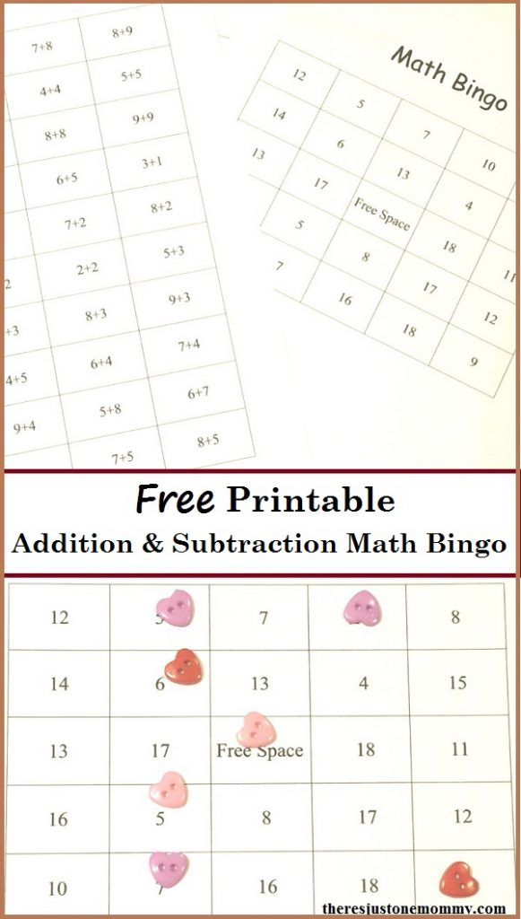 Printable Math Facts Bingo | There\'s Just One Mommy