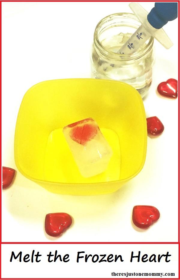 Valentine's Day science: melt a frozen heart (could be Disney Frozen activity)