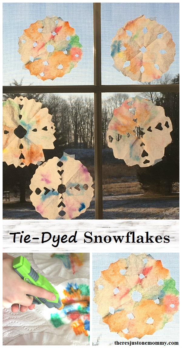tie-dyed snowflakes: coffee filter suncatcher craft; snowflake craft