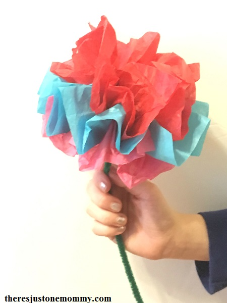 Kids Tissue Paper Flower Craft There S Just One Mommy