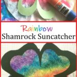 This colorful rainbow shamrock suncatcher is a fun St. Patrick's Day craft for kids