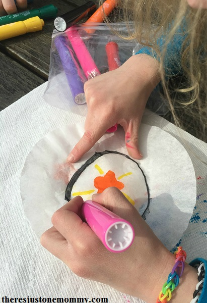 how to make tie-dyed coffee filter sunccatcher -- shamrock suncatcher St. Patrick's Day craft