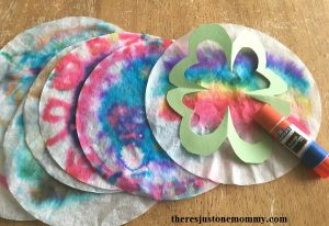 coffee filter suncatcher craft -- shamrock suncatcher for St. Patrick's Day