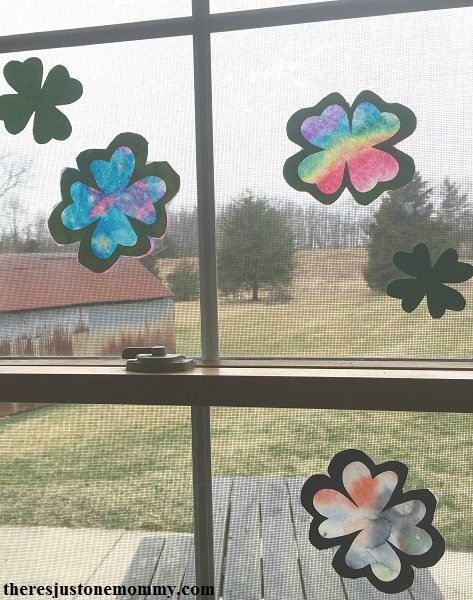 Shamrock suncatcher craft for St. Patrick's Day