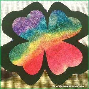 rainbow shamrock craft: make a tie-dyed shamrock suncatcher for St. Patrick's Day