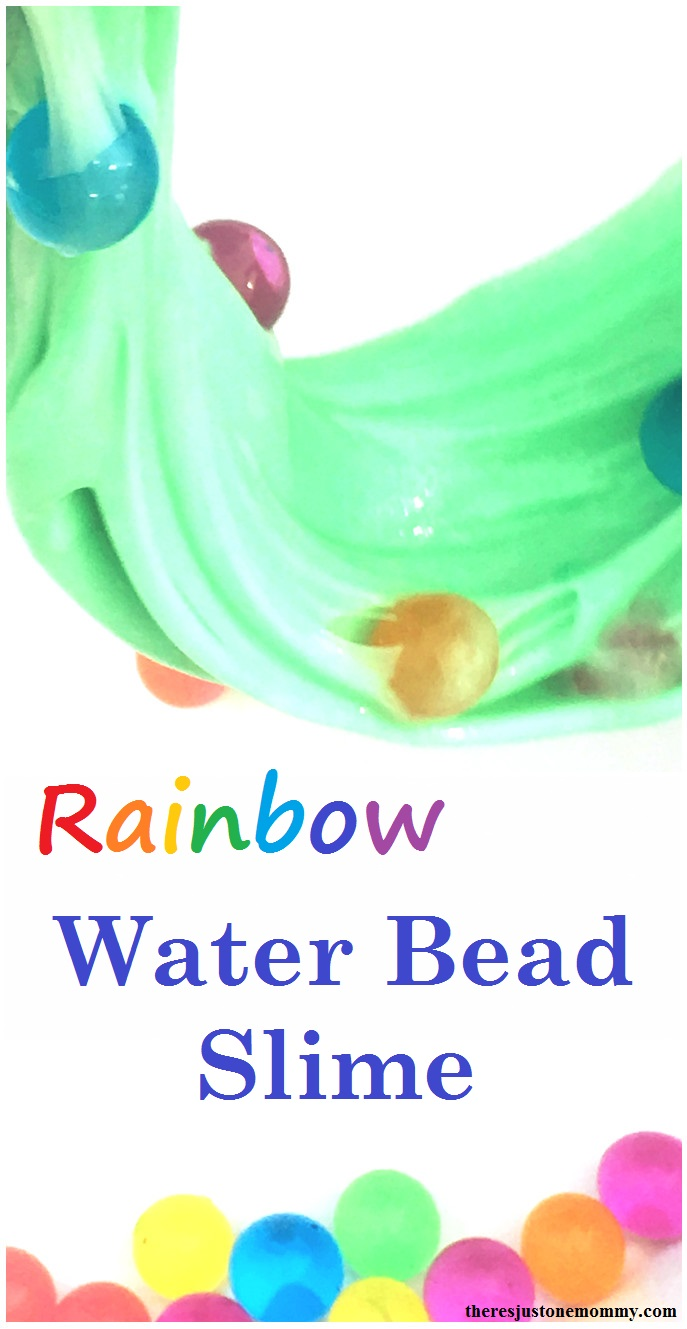homemade slime recipe: liquid starch slime with water beads; rainbow water bead slime