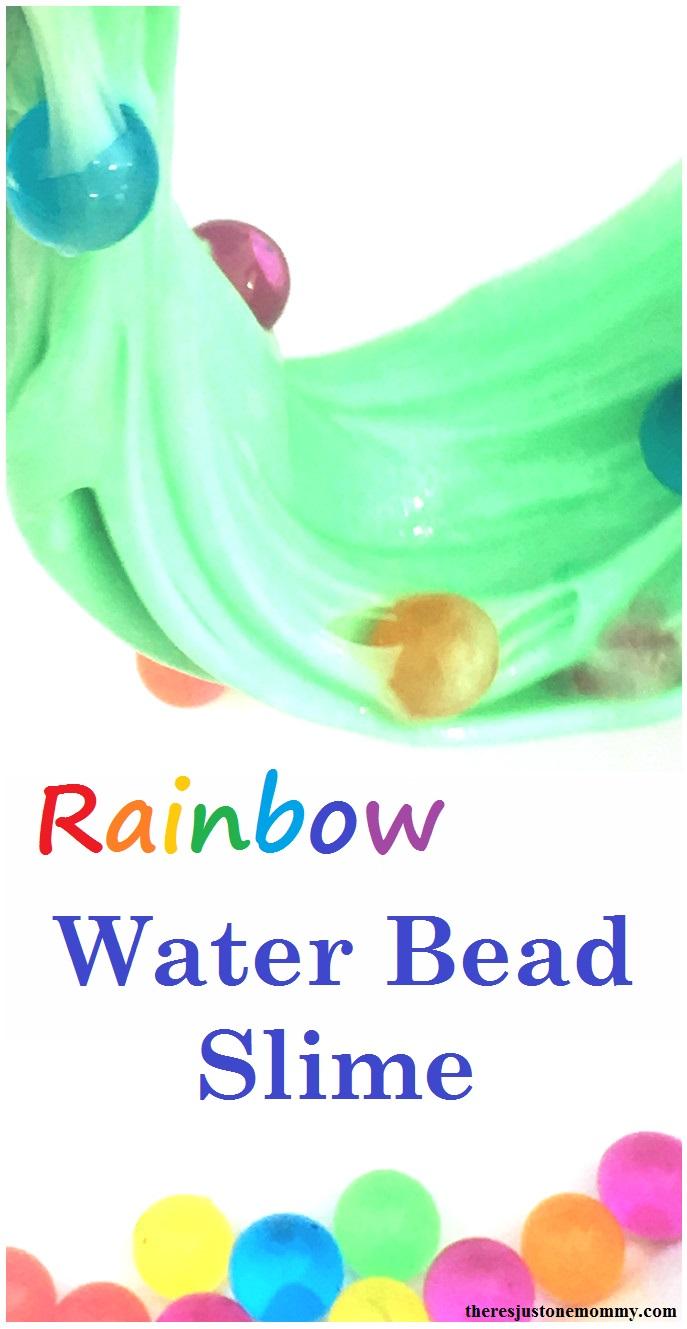 homemade slime recipe: liquid starch slime with water beads; rainbow water bead slime