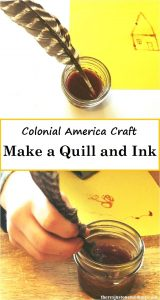 How to make a quill and homemade ink -- fun Colonial America unit activity