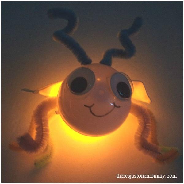plastic egg firefly; lightning bug craft for kids