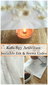 spy activities for kids: how to make invisible ink and write simple messages in code -- great for talking about George Washington's spies for Revolutionary War unit