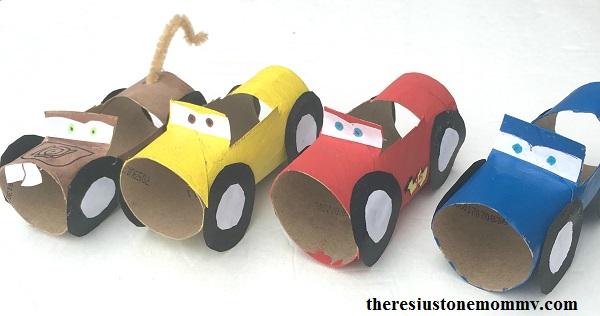craft inspired by Disney Cars 3 movie -- Cruz Ramirez craft, Lightning McQueen craft, Mater craft