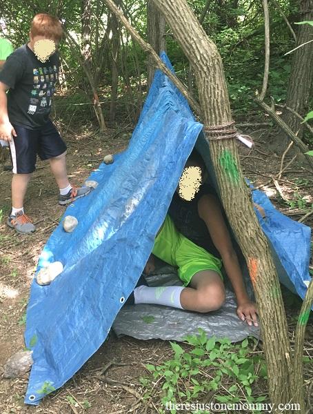 DIY emergency shelter activity for kids