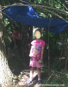 simple kids summer camp activity -- building a shelter