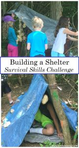 kids survival skills activities: simple outdoor challenge to build an emergency shelter