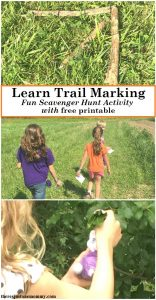 Do your kids love scavenger hunts? Teach Trail Marking skills with this simple trail blazing activity. Get a free printable by clicking through to There's Just One Mommy.