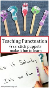 punctuation stick puppets for punctuation activities