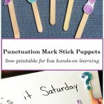 Hands-On Learning: Punctuation Mark Stick Puppets (free printable)