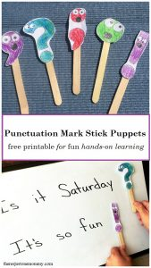 hands-on learning activity for punctuation marks: free printable punctuation mark stick puppets