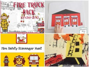 fire truck crafts, fire truck activities, fire safety activities.