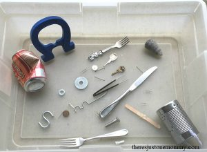 magnet sensory bin -- simple hands on science to learn about magnets