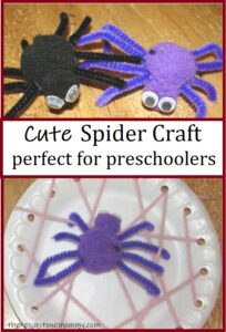 pom-pom spider and paper plate web craft