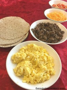 Looking for a simple holiday breakfast idea? Set up a breakfast burrito bar. Make-ahead sausage & egg burrito recipe