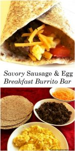 sausage & egg breakfast burrito bar -- simple make-ahead holiday breakfast idea; #breakfast #JimmyDean
