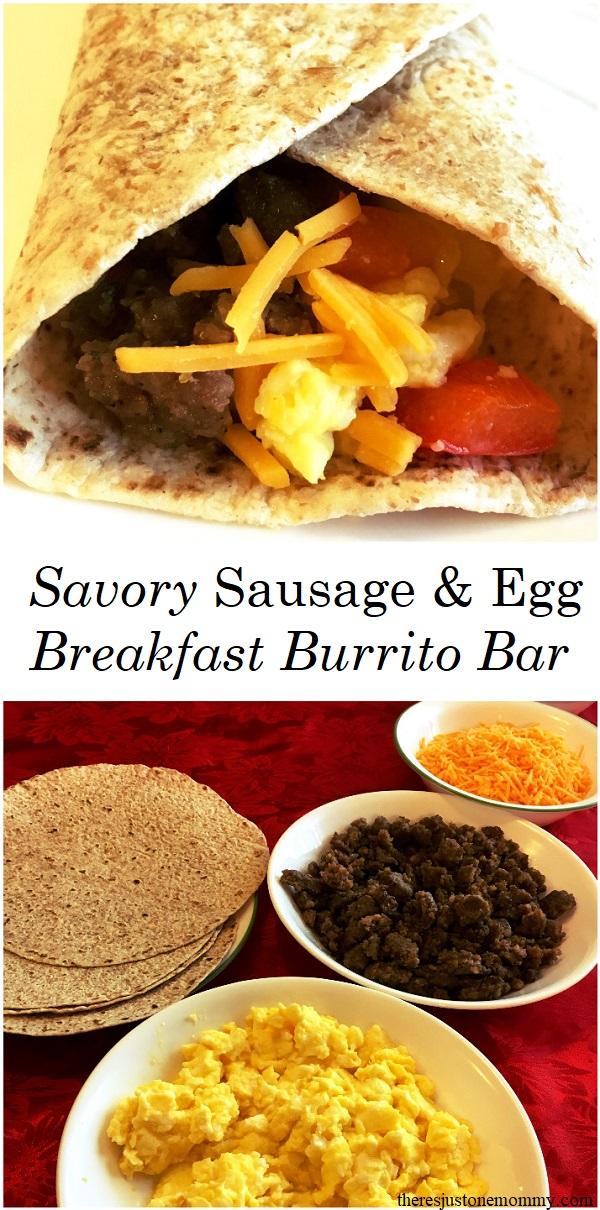 sausage & egg breakfast burrito bar -- simple make-ahead holiday breakfast idea; #breakfast #JimmyDean