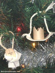 Homemade Jesse tree ornament for David and Solomon