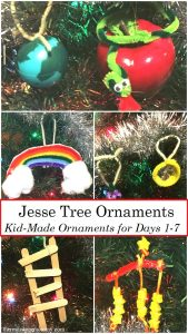 Homemade Jesse Tree Ornaments -- fun kids Christmas activity to teach Bible stories; #Christmas #ornament #homemade #DIY
