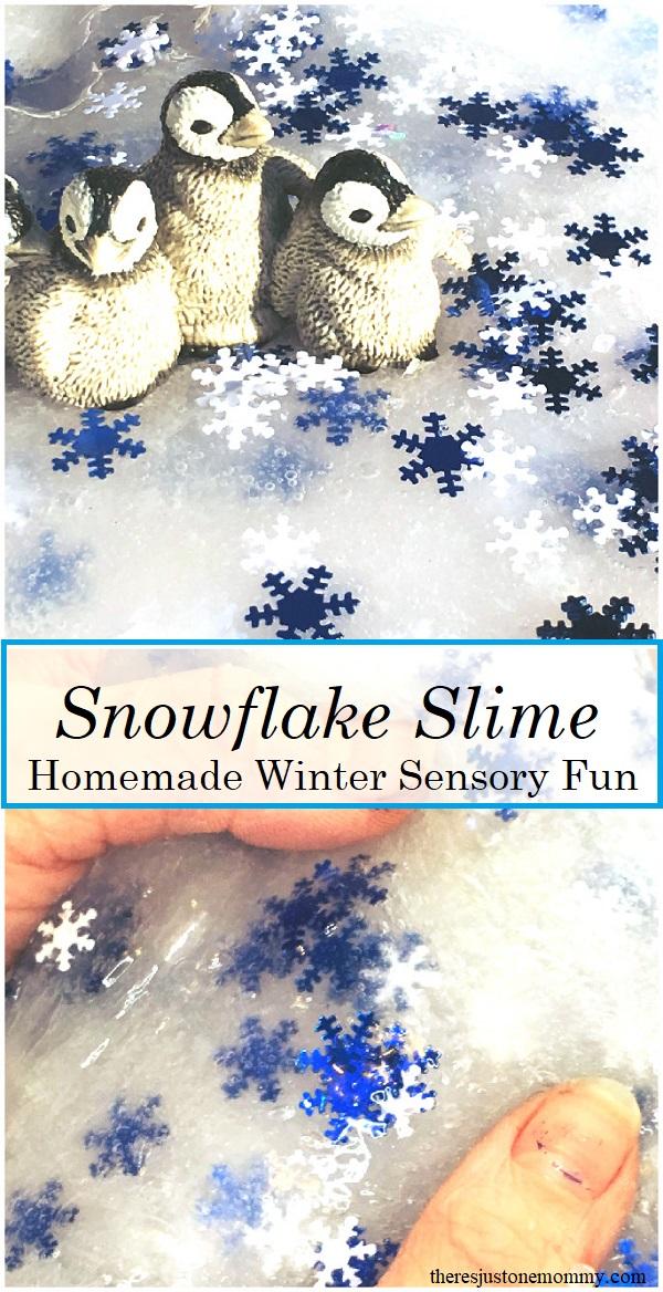 Snowflake Slime -- simple liquid starch slime recipe for winter sensory play