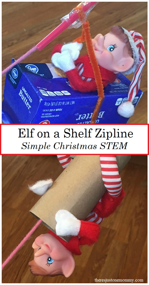 Christmas STEM: build a elf on a shelf zipline; simple STEM activity for kids