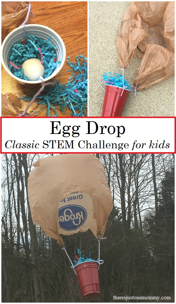 The egg drop STEM challenge is a fun spring kids STEM activity