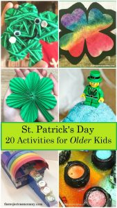 Looking for St. Patrick's Day activities for older kids? Check out this collection of 20 activities for St. Patrick's Day, including St. Patrick's Day crafts for elementary kids.
