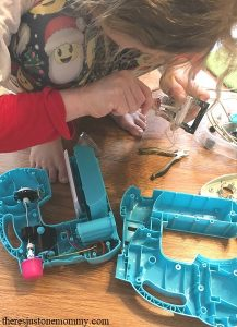 taking electronics apart STEM activity for kids
