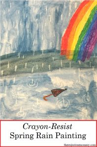 Looking for a fun spring rain craft for kids? Check out this Crayon Resist Water Color Painting!