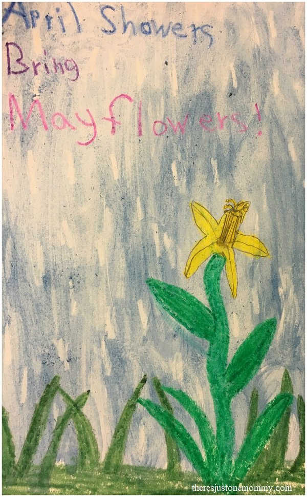 April showers craft for kids -- simple crayon resist painting for spring