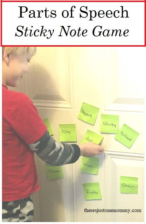 Parts of Speech game: simple activity to teach Parts of Speech with sticky notes