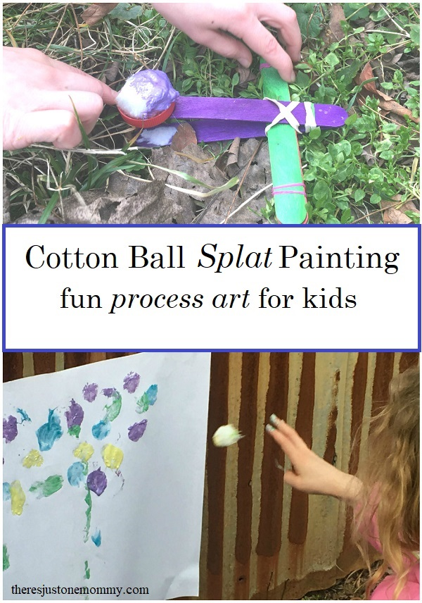 cotton ball splat painting -- fun messy art activity for kids