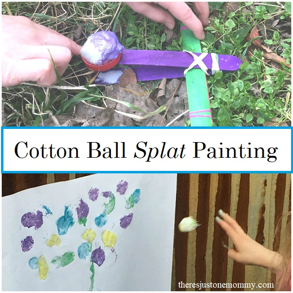 cotton ball splat painting for kids