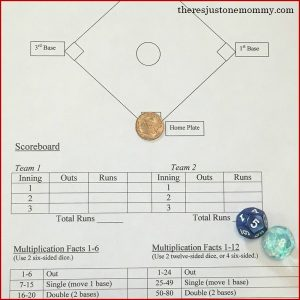 baseball math facts game -- fun way to practice multiplication facts