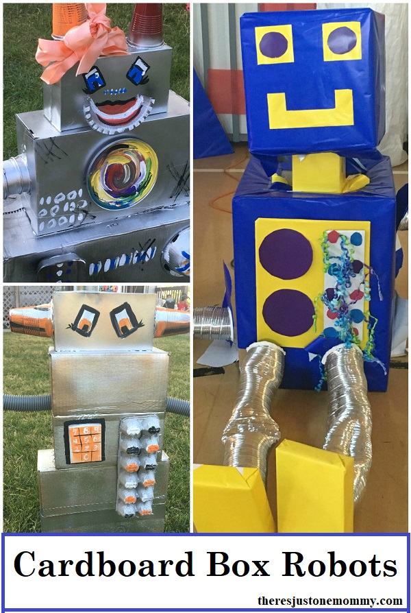 cardboard box robot craft -- recycled craft idea for kids; these would be perfect as decorations for a robot party or for Fun Maker Factory VBS